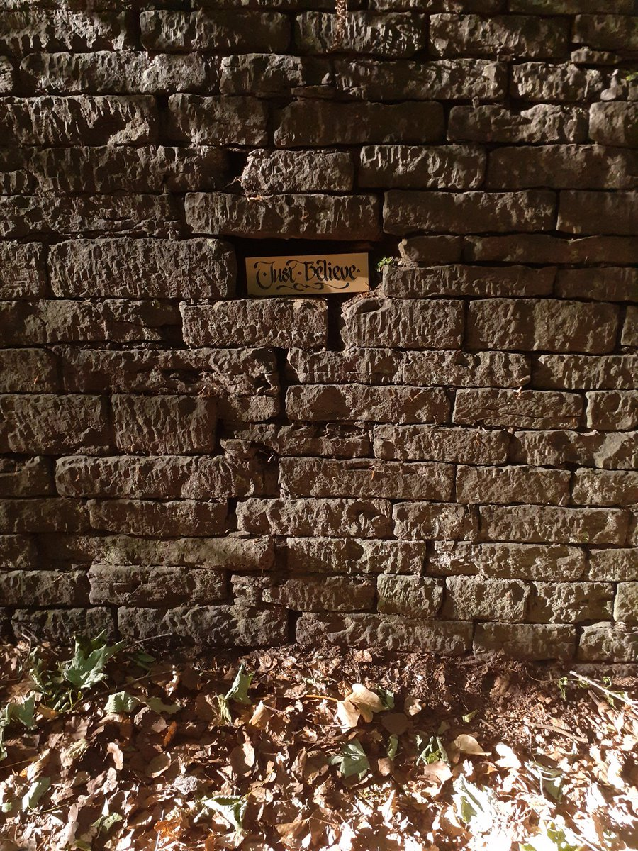 """Love the light and shade of this...""""Just Believe"""" set in a beautiful old wall leading down into #Wigan Plantations...#art #calligraphy #Believe #StaySafeStayHealthy #Mindfulness https://t.co/vVJPDPRJFt"""
