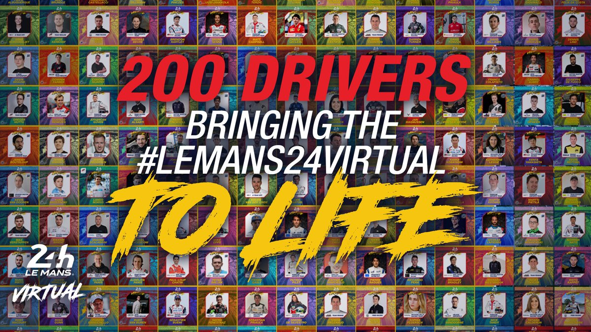 Welcome to all these champions, thank you for making the #LeMans24Virtual dream happen. We can't wait to see you racing in 2 weeks!  #WEC @24hoursoflemans https://t.co/LxYFNYMgBp