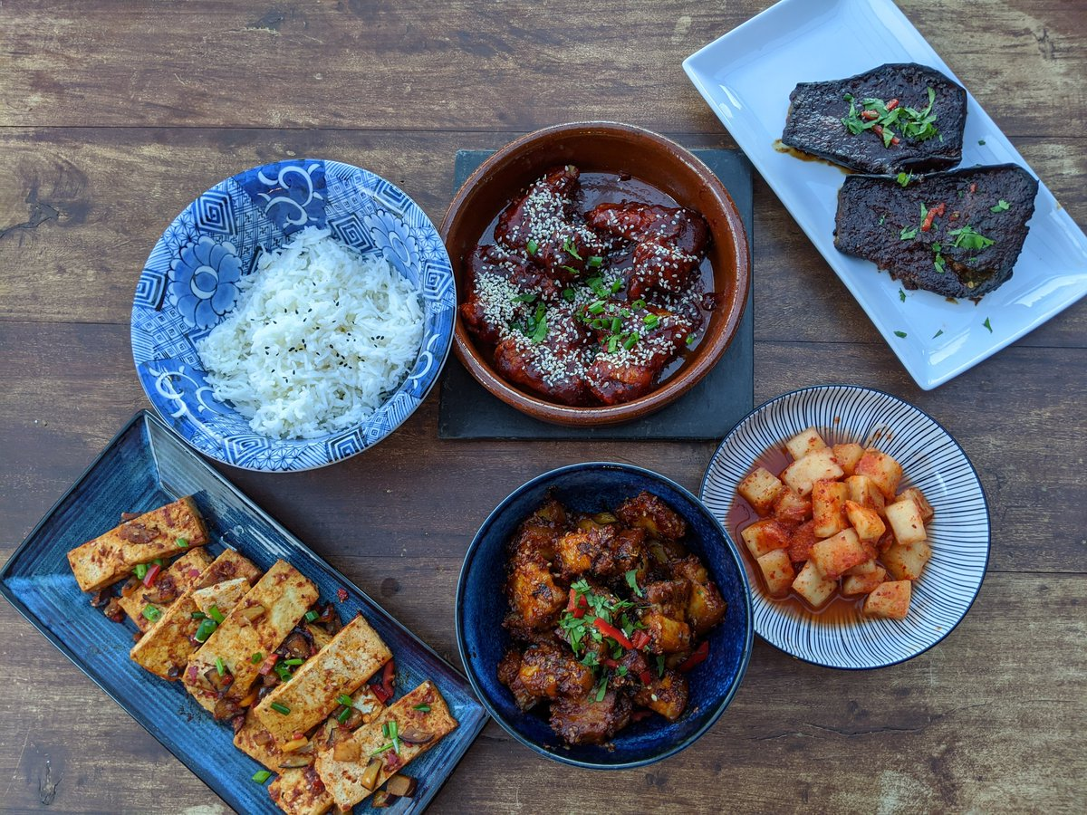 Mainly Korean dishes with @KoreanPantry #kimchee #foodporn #quarantinekitchen #dinner #tofu