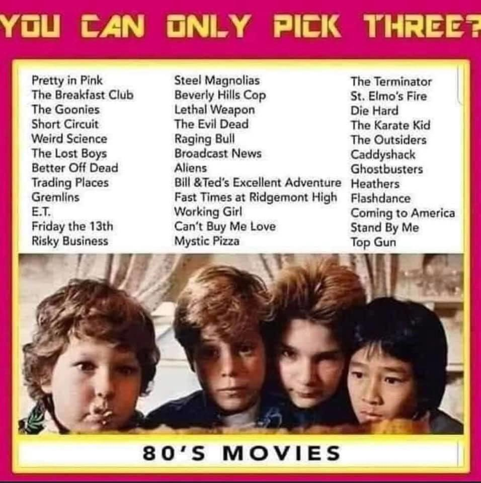 Only pick three?! Yikes...  1) The Terminator 2) Stand By Me 3) Top Gun  #80s #Movies pic.twitter.com/eKLSMO6ptq