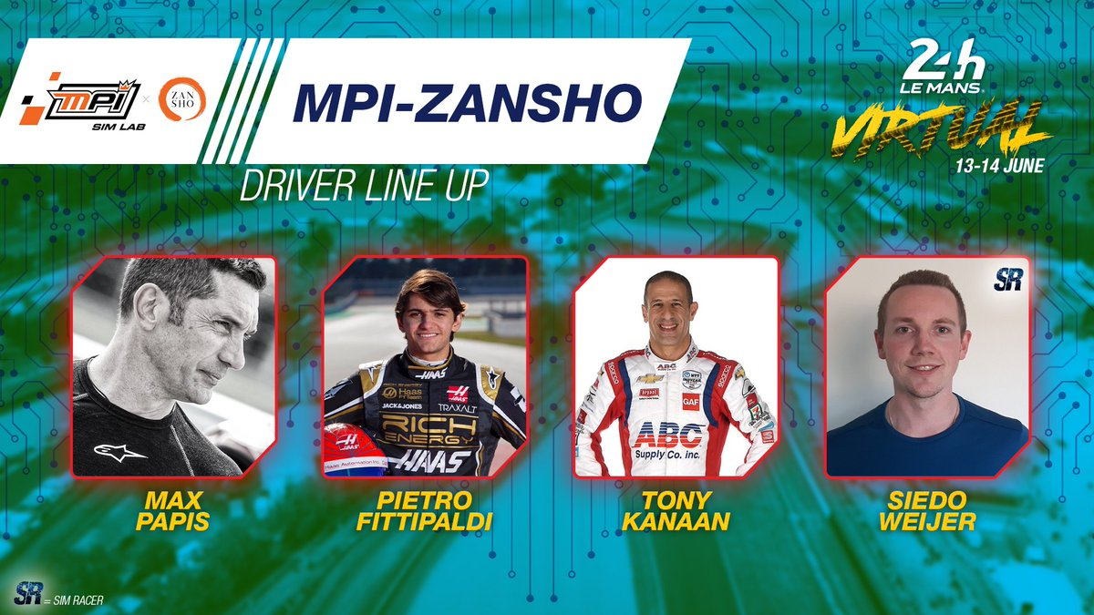 Another great lineup! Please welcome @maxpapis @PiFitti @TonyKanaan and Siedo Weijer. The full entry list will be revealed in 20 mins...stay TUNED! 🔥  #WEC #LeMans24Virtual @ZanshoSimsport https://t.co/Y7bP24oWFh