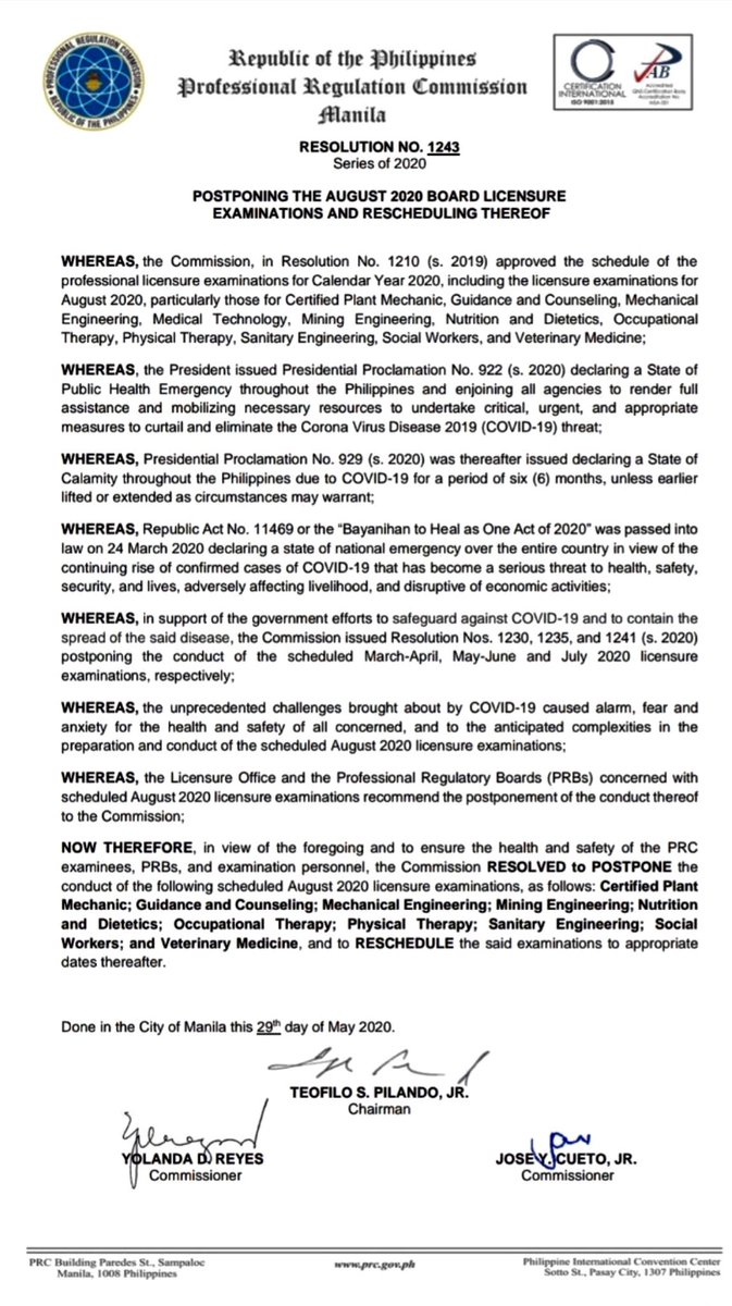 The Professional Regulation Commission (PRC) announces the postponement of August 2020 Licensure Examination including Physical Therapy licensure examination. https://t.co/q6vw6cbCKU