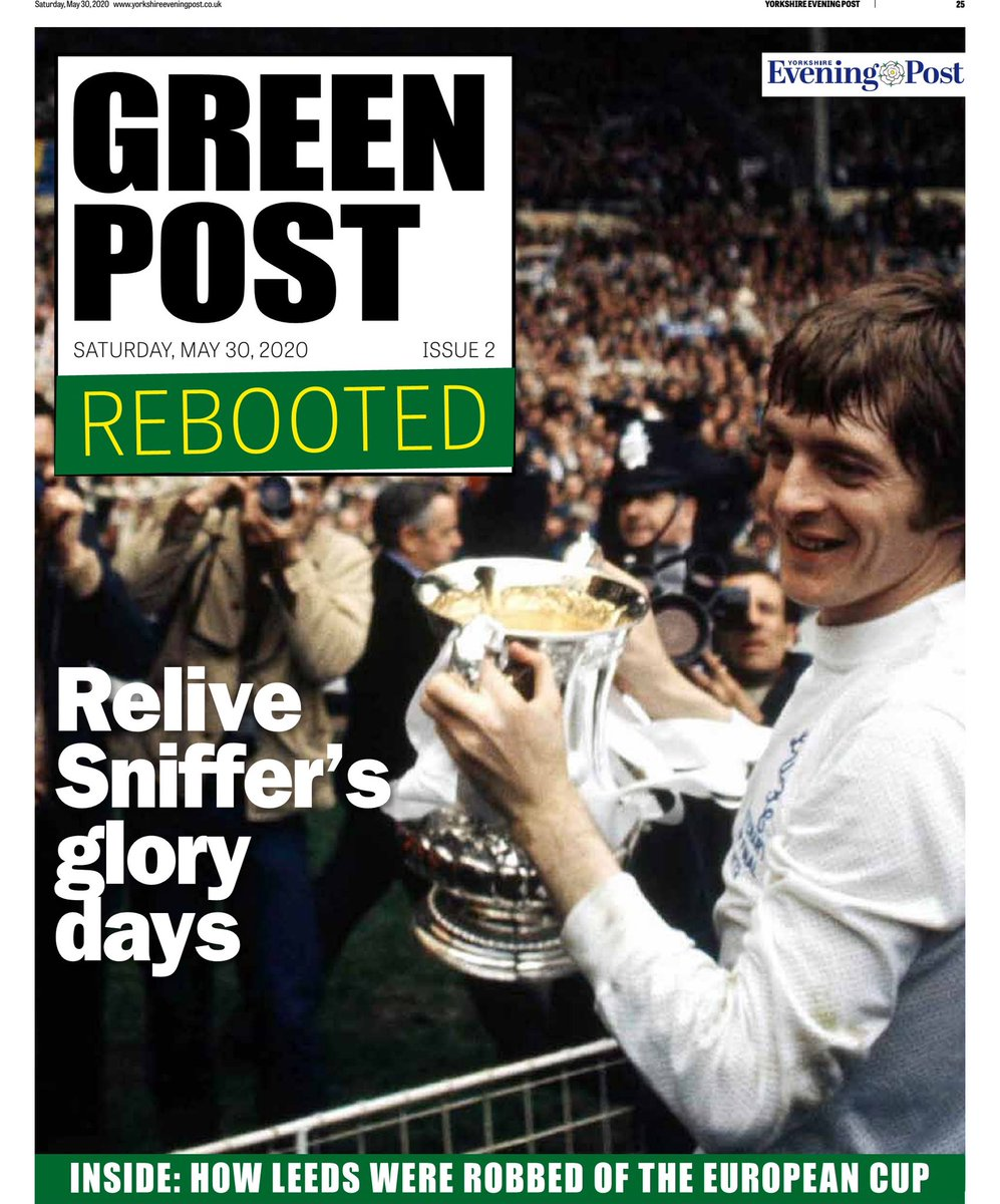 In today's YEP - Green Post Rebooted. Eight pages of classic memories looking back at Allan 'Sniffer' Clarke's glory days and the 1974-75 campaign. And if you can't get one we can post it out, just call 03304030066. 💛💙 #lufc