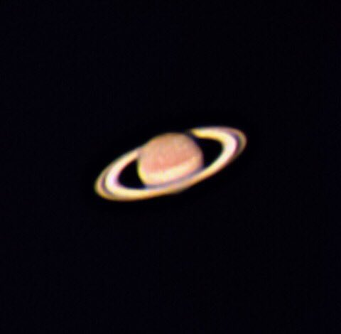 """In the wee twilight hours this morning I got a glimpse of the planet #Saturn dance across the sky such a delight to see through a 4"""" #Skywatcher #Telescope I captured this using a #Zwoasi120mc and an atmospheric dispersion corrector #astronomy #astrophotography #thephotohourpic.twitter.com/IZ2HC3jymQ"""