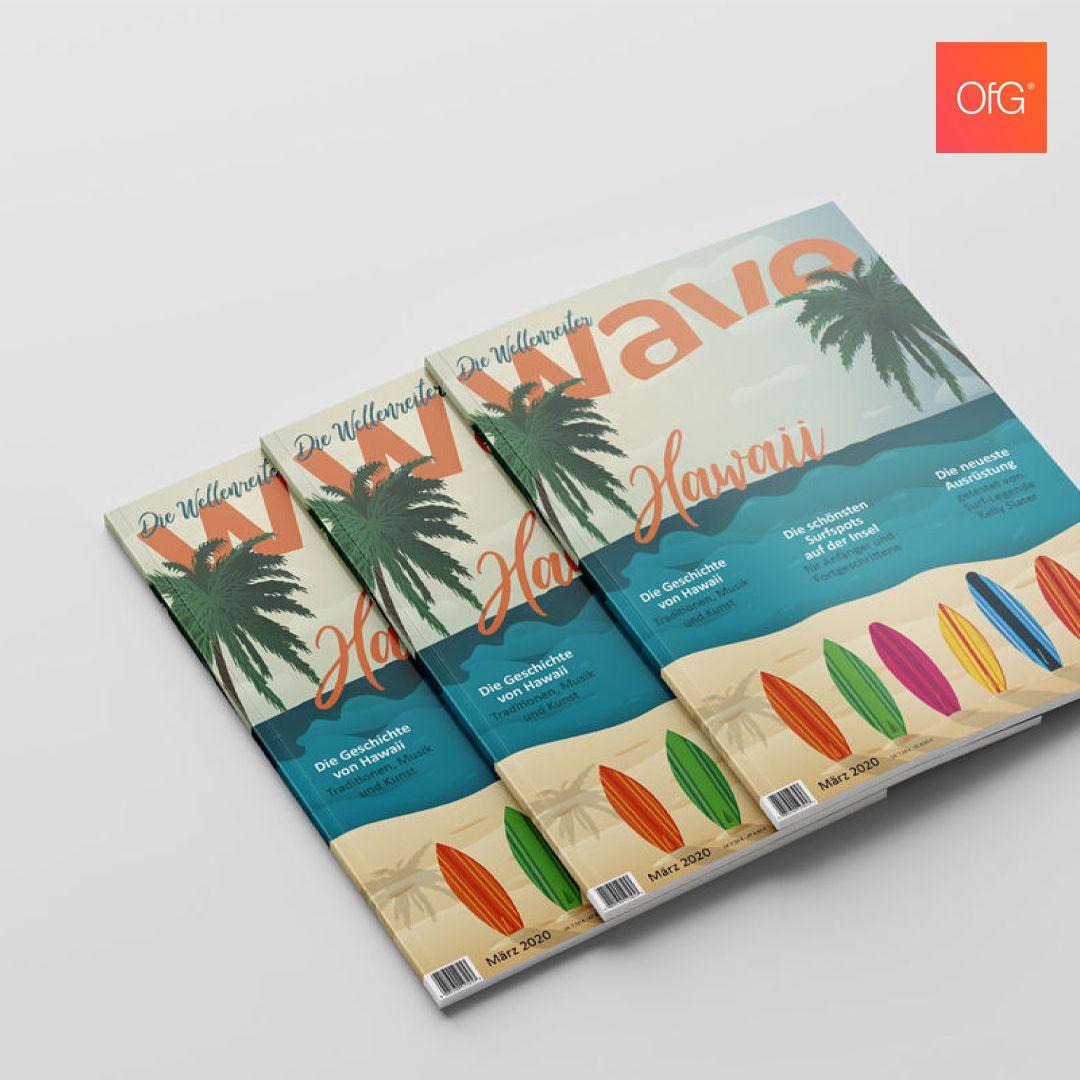 Magazincover by Silke Lonsinger!  #ofg #onlineschulefürgestaltung #onlineschoolofdesign #yourmindcreatesthisworld #createdatofg #onlinekurs #grafikdesign #graphicdesign #conceptual #visuals #creativity #magazine #print #wave #surfing #hawaii #illustration #editorialdesign