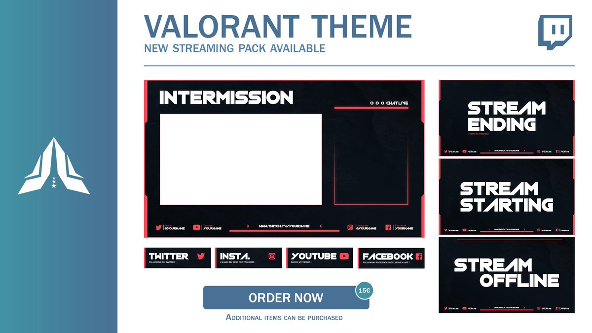 - New #Streaming Pack -  Theme : #Valorant. Price : 15€. Additional Design : Available.   Order now and choose your color ! Contact US via Twitter or Email.pic.twitter.com/ieILeS6IOw