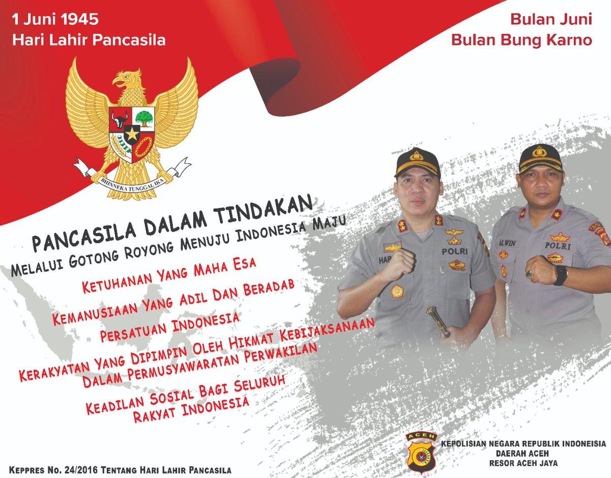 Selamat Memperingati Hari Pancasila 01 Juni 2020..   Pancasila Dalam Tindakan Gotong Royong Menuju Indonesia Maju...  @divisihumaspolri  @bidhumaspoldaaceh  #humaspoldaaceh #polriindonesia #haripancasila #haripancasila2020pic.twitter.com/lZD3A4s2JH