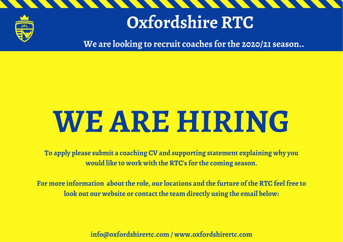 WE ARE HIRING    As we take time to reflect, review and reset, we also start to turn our thoughts towards the future!  We are looking to hire 2/3 coaches to work across our Bicester and Oxford sites for when we return!  To find out more read& reach out!  #Coaching #AskTheCoachpic.twitter.com/XG9TYyFudn