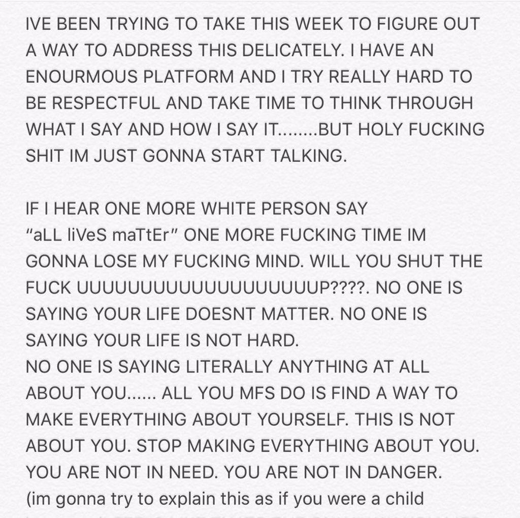 Billie via Instagram  #BLACK_LIVES_MATTER #BlackLivesMatter #JusticeForGeorgeFloyd https://t.co/B8VhTxUgL1