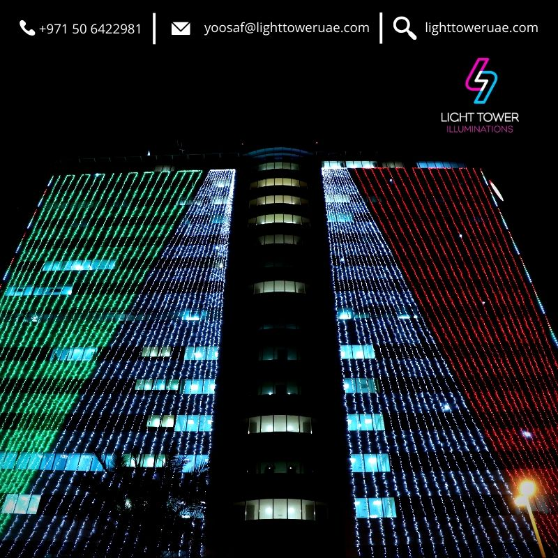 UAE National Day building illumination work done for Al Zahra Hospital in Dubai. #lighting #lightingdesign #illumination #illuminationdesigns #uaenationalday #celebration #dubai #uae #middleeast https://t.co/5qKqL1y6Md