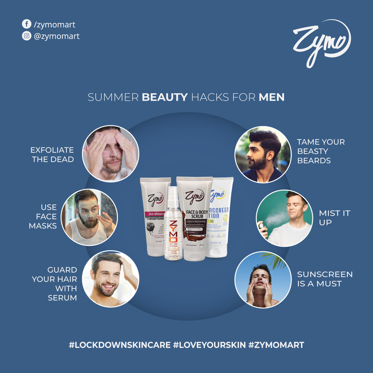 What makes a man look stunning? The answer lies within their SKIN and HAIR.  Shine this summer with these skincare tips for MEN.  #summertips #beautytipsformen #summertipsformen #beautyhacks #menskincare #facescrub #facemask #loveforsunscreen #facemist #lockdownskincare #zymomartpic.twitter.com/iwdzB9TGOS