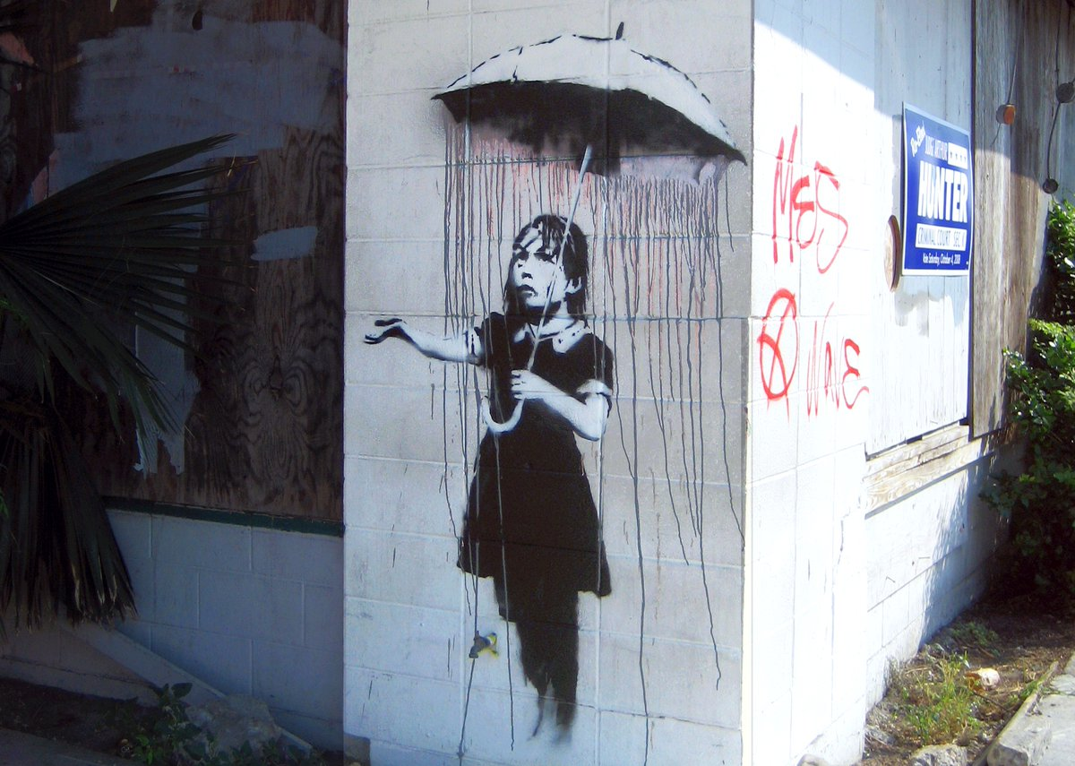 "#30May #May30 #30Maggio 2020  ""Rain Girl"" or ""Umbrella Girl""  Banksy (2008) 1000-1098 Kerlerec Street Corner of Kerlerec St and N Rampart St, New Orleans 🇺🇸  #Banksy #painting #streetart #postgraffiti #graffiti #muralart #murales #art #pintura #peinture #pittura #arte https://t.co/mdFAvtMJpd"