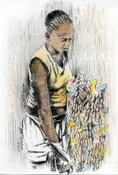 "Title: Vendedeira de Rosário Technique: Ink and Color Pencils on Paper Author:  #JoaoDaGraca  In Pilgrimage Parties some women sell ""Rosário"" rosaries composed mainly with colored stripes of paper, earthnut and popcorn connected by a nylon or linen thread.  #art #arte #draws https://t.co/kuj1prQQ17"