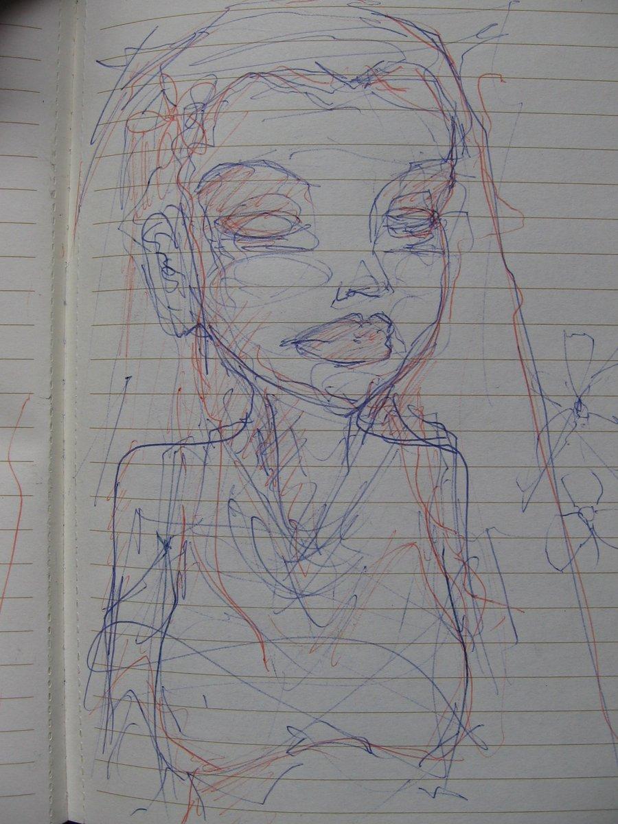Intuitive Energy Drawing. #intuitive #energy #drawing #penandink #inkrules #notebook #alineadaywithoutfail #av #angelvalenciano #bust #portrait #blue #orange