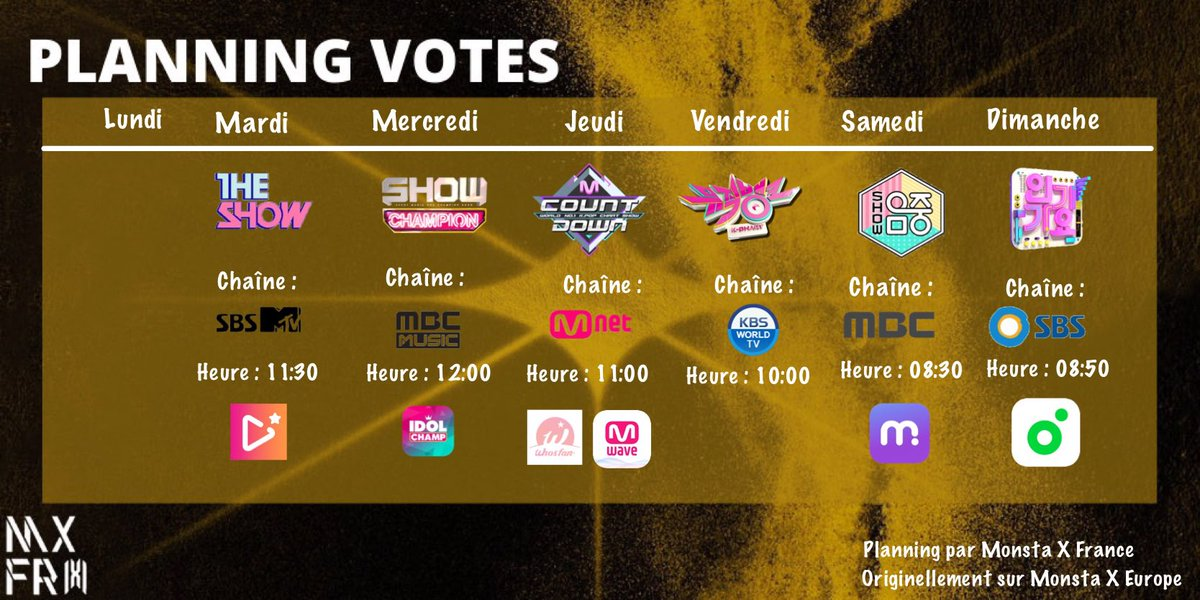 [VOTE‼️] Récapitulatif : MCountdown (Mwave) 1 vote par jour mwave.me/en/mcountdown/… MCountdown (WhosFan) 1 vote seulement play.whosfan.com/shared/vote/24… Show Champion ➝ IdolChamp 1st week of June 3 votes par jour The Show ➝ Starplay avec vos tickets (gardez vos tickets!)