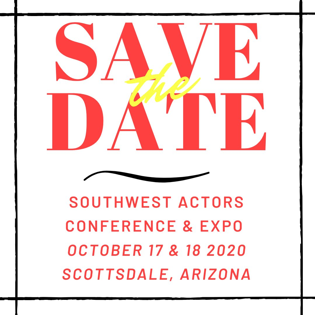 We are excited to announce the new conference dates for Southwest Actors Conference & Expo will be Oct 17 & 18, 2020 in Scottsdale, AZ!  Tickets go on sale next week! #actor #SWActorsConX #castingdirector pic.twitter.com/uIRM4awqf0