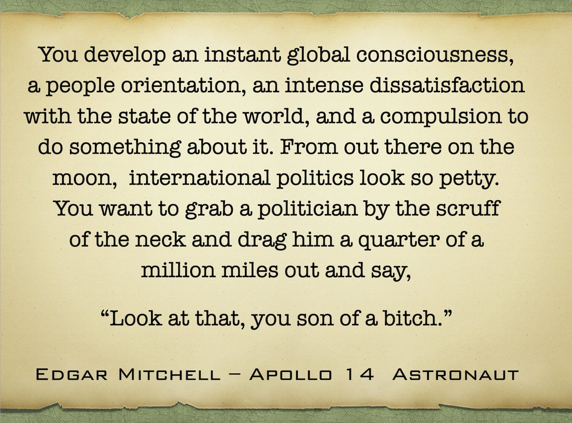 Amid the turbulence of a pandemic & racedemic, I offer this reflection on what Earth looks like from space, as only an Apollo astronaut can tell it.