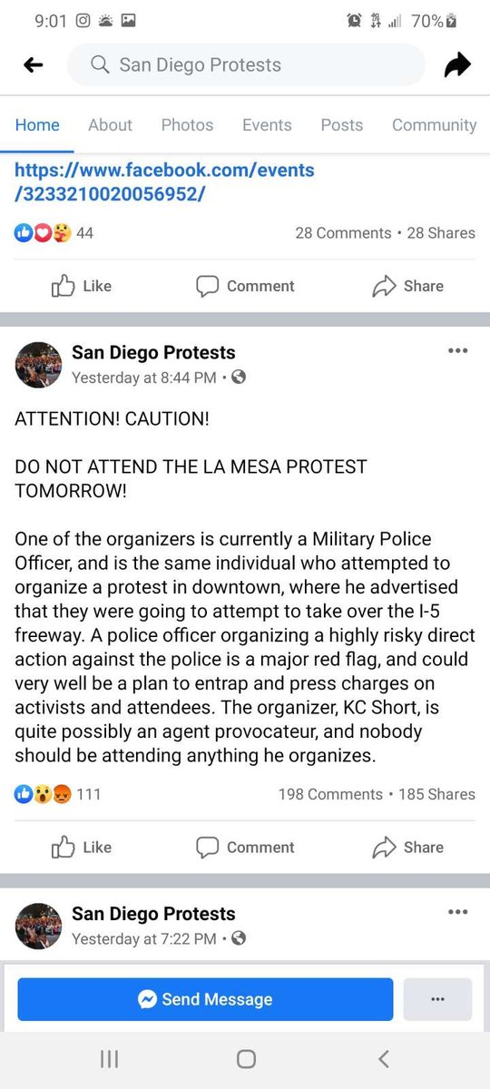 For my people in SD and attending the LA MESA PROTEST BECAREFUL WITH THAT IT MIGHT BE A TRAP. #SanDiego #BlacklivesMaters #GeorgeFloydprotest #BLMSD https://t.co/1iJGc46UOE