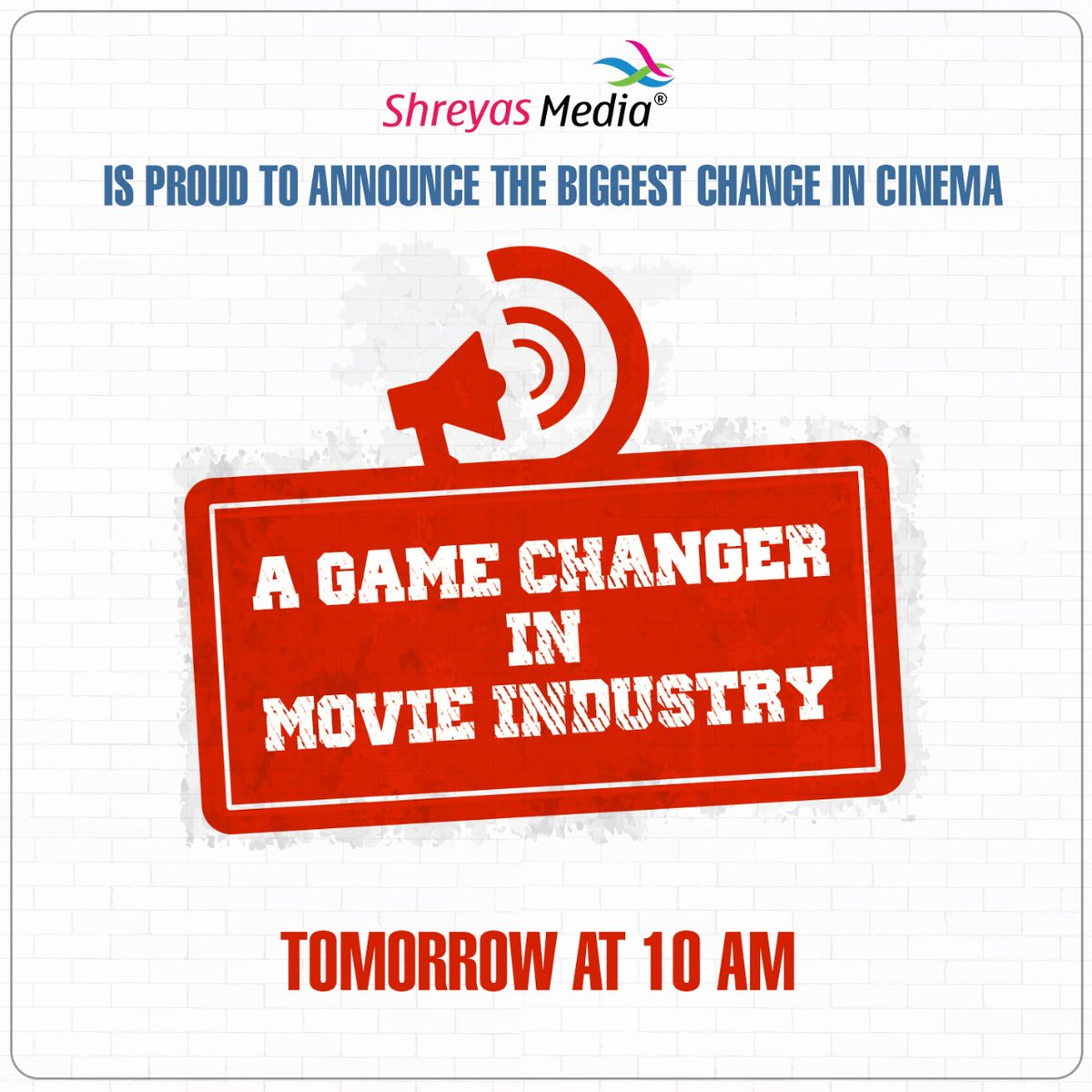 Get ready for a game changing announcement from @shreyasgroup tomorrow at 10AM. BRACE YOURSELF!!  #MovieMania #GameChanger #ShreyasMakesAMovepic.twitter.com/1D0HlnmvNn