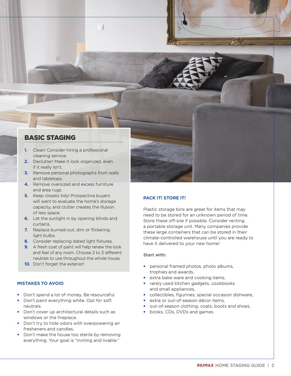 RE/MAX Home Staging Guide - Part 2: Basic Staging  #kitchener #waterloo #kw #house #realtor #realestate #buyersagent #listingagent #investment #home #investmentproperty #homesweethome #luxuryliving #houseforsale #forsale #househunting #lovewhereyoulive #sold #buy #homestagingpic.twitter.com/Eq4HFWha5Y