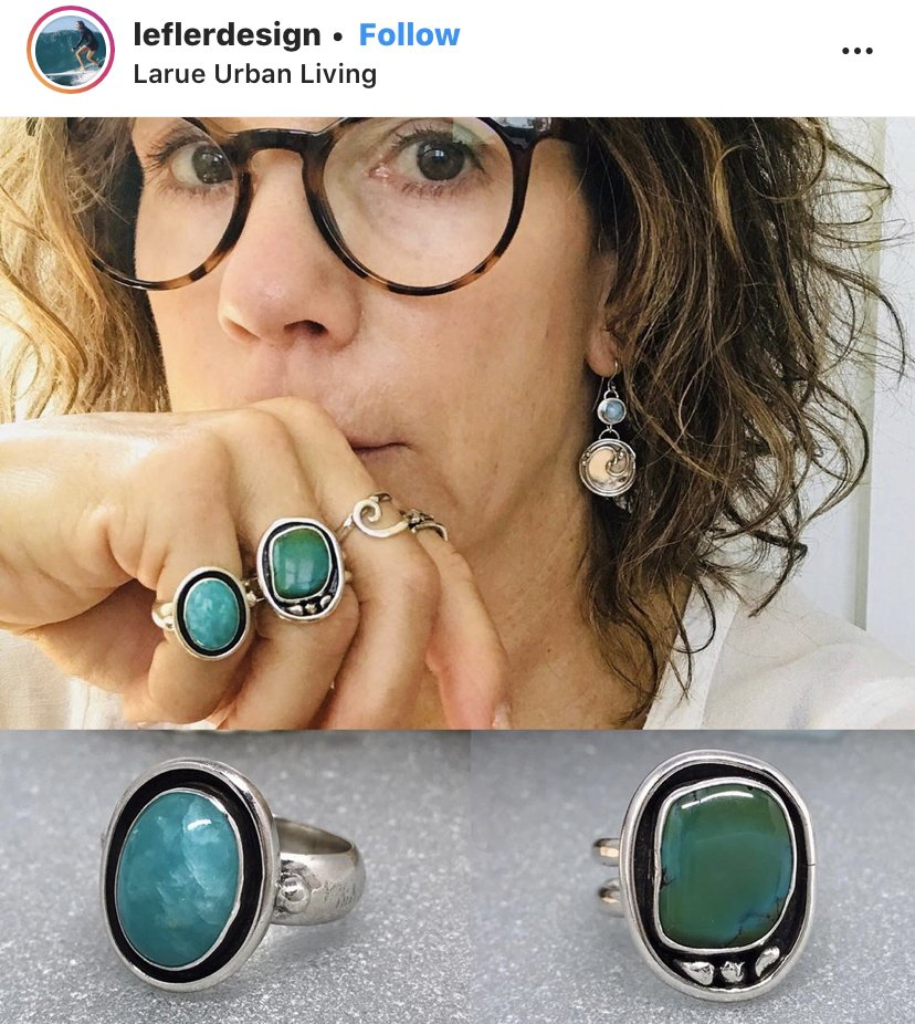 Terri Lefler design Is this your mood too? Let's talk! #handcrafted #shopsmallbusiness #argentiumsilver #jewelrydesigner #jewelryaddict #instamood #summervibes #amazonite #turquoise #styleinspo #rings #expressyourself #southfrontdistrict #ilmart #wilmingtonnc #theArtWorksNC