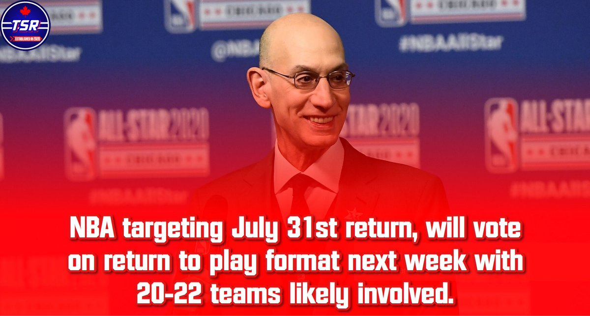 NBA return to play format is expected to be approved next week with a target date of July 31st for a return to play!  #NBA #Raptors #Toronto #TorontoRaptors #Sports #Basketball #Canada #DisneyWorld #COVID19 #Coronaviruspic.twitter.com/9bFrCQpOjr