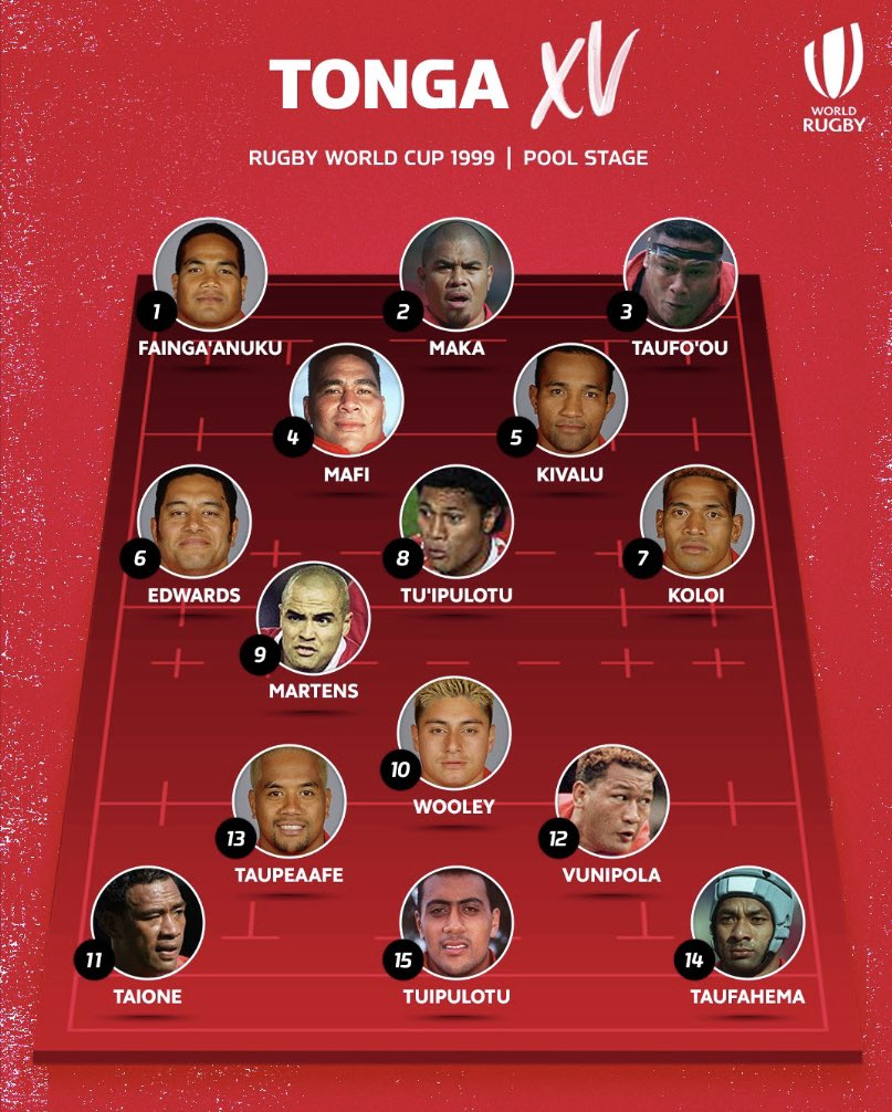 Italy v Tonga, RWC 1999 Pool Stage. Heres how they line-up. Join us and watch the game in full. 🇮🇹🇹🇴 ⏰ 19:00 BST 📺 Rugby World Cup Facebook / World Rugby YouTube