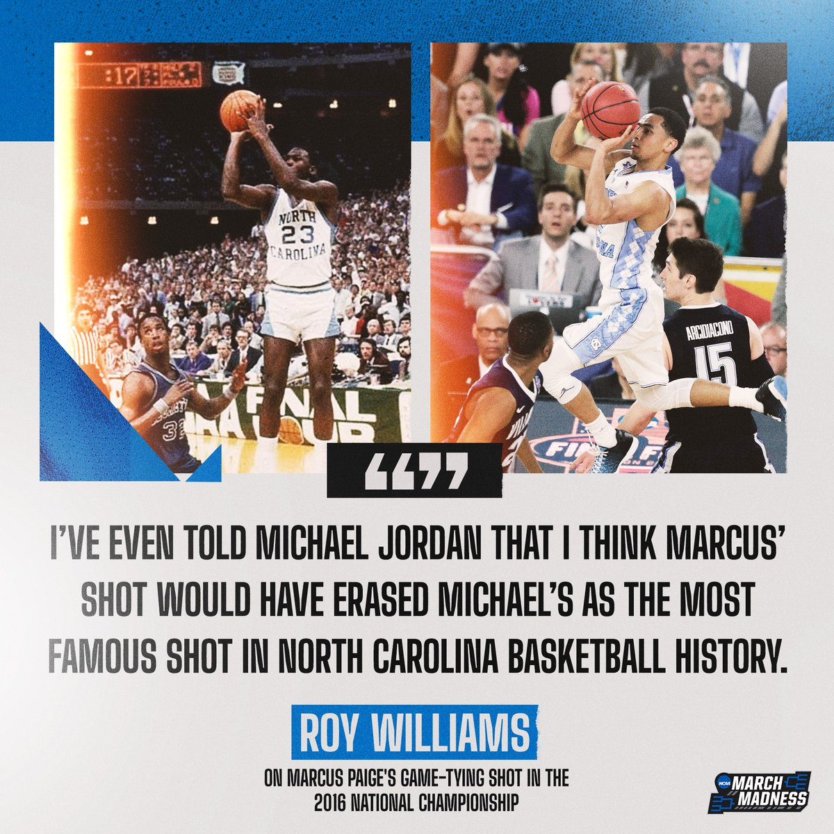 .@UNC_Basketball has a history of clutch shooters 👀  Hear more from Roy Williams on the #MM365 pod with @TheAndyKatz. 🎧 https://t.co/zpcSxPxl97 https://t.co/MyWvAnNYr6
