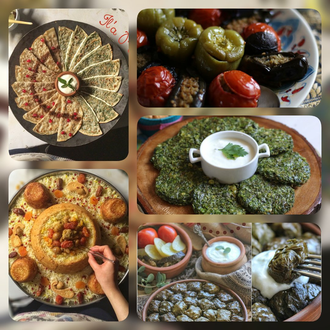 Although these yummy  foods from #Azerbaijan|i  rich #cuisine will make you gain some weights, its really worth to taste and enjoy some of these unique flavours named #Gutab, #3sistersDolma, #Plov, #Kuku #LeafDolma from |i cuisine pic.twitter.com/j92DwygncM