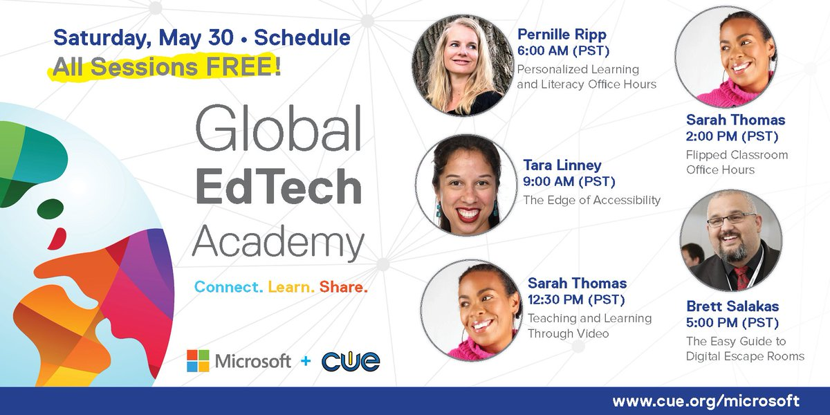 So ... whatcha got going today? Check out these fantastic sessions in the #GETA, including: 🔥 Flipped Classroom 🔥 Literacy 🔥 Accessibility ...and DIGITAL ESCAPE ROOMS with @MRsalakas! All FREE! Join: cue.org/microsoft #DitchBook #remotelearning #microsoftedu #edtech