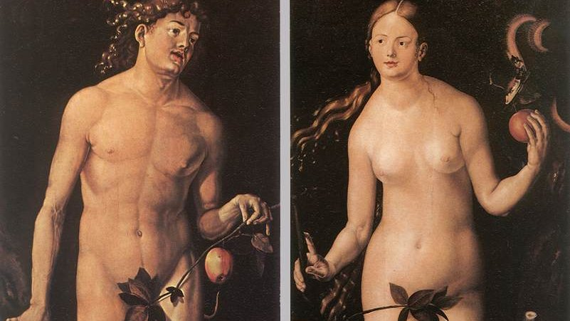 Postcard, male nude seen