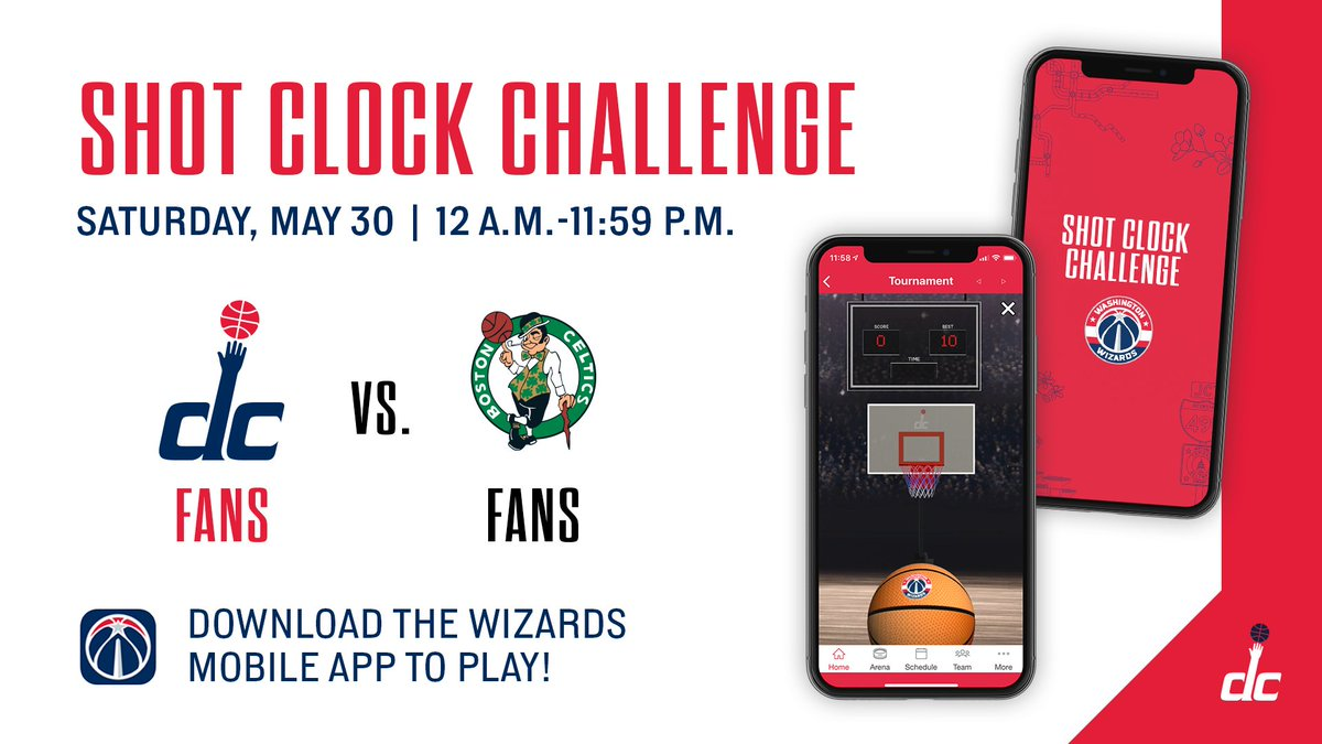 Our Shot Clock Challenge matchup with the @celtics is LIVE! 🏀   Download, play, and #RepTheDistrict.  📲: https://t.co/30kpRPZJ7K https://t.co/zfUz88vkNV