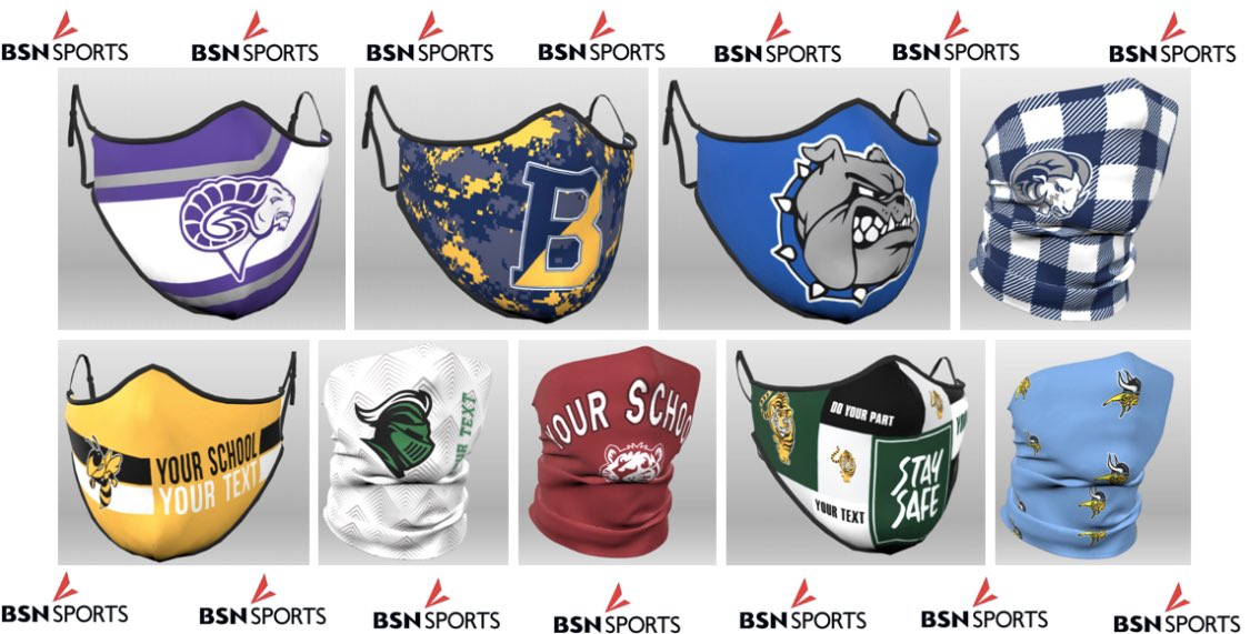 You need them, we've got them  Add spirit to safety with these custom face guards & we will #GetThroughThisTogether @BSNSPORTS is here to help you during this transition back to school & sports! #TheHeartOfTheGamepic.twitter.com/V4gR4sbOkp