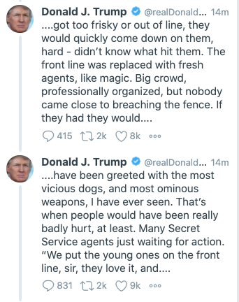 Trump glorifying violence yet again... ...and the deranged language reveals he is scared out of his mind. Every bully is a coward.
