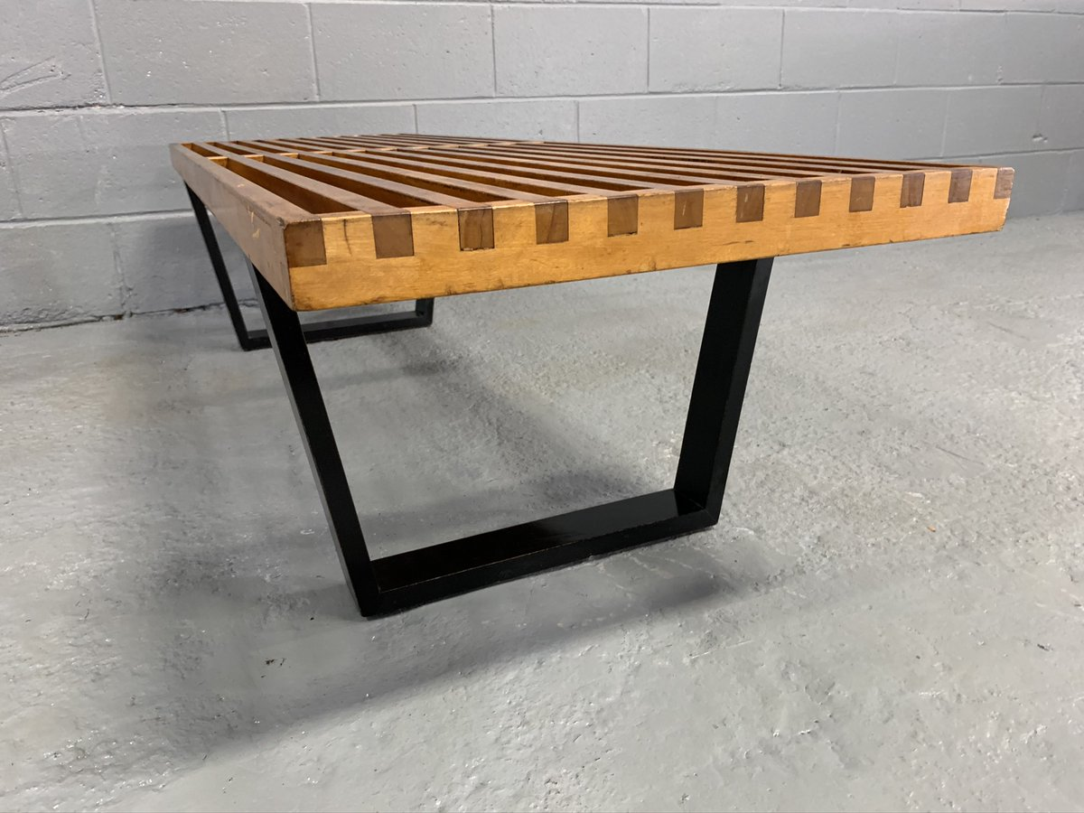 Slat bench, designed by George Nelson for Herman Miller. This #modern bench is constructed from solid maple and black ebonized wood. Given patina & provenance of this piece, it appears to be an early example of this iconic bench. #midcenturymodern #midcenturymodernfurniturepic.twitter.com/EtJA3eB0Wg