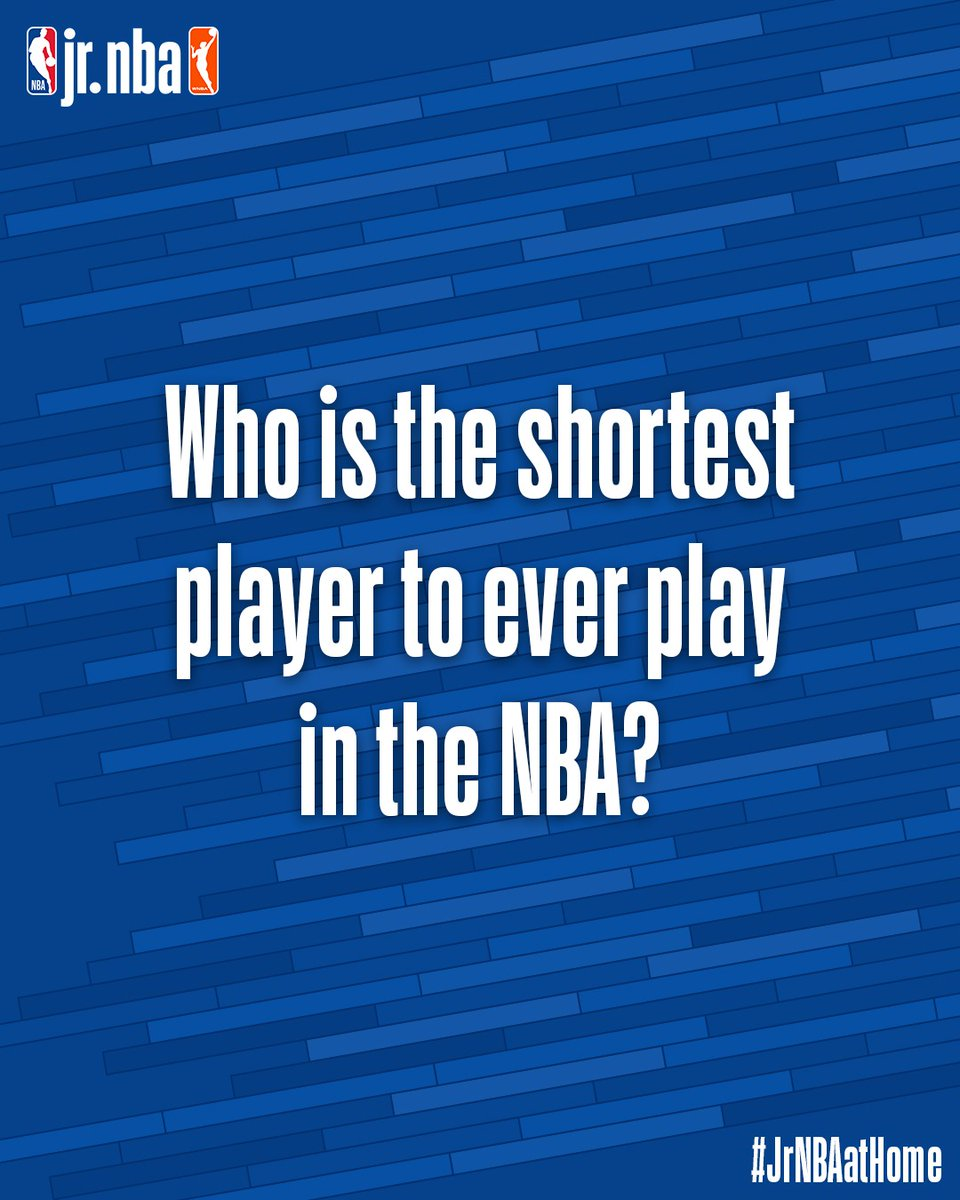 The shortest player in NBA history 🤔  Do you know the answer to today's #JrNBAatHome Trivia⁉️ Comment below with your best guess #NBATogether https://t.co/Cdx5qoYd0P