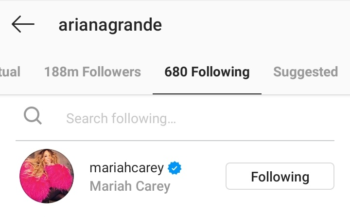 Mariah Carey recently survived Ariana Grande's unfollow spree on Instagram. She is one of the few pop artists to achieve this. Congrats to Mariah!! <br>http://pic.twitter.com/37DW0n2ki5