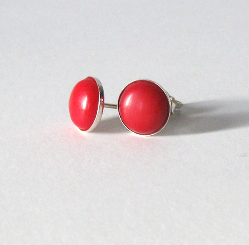Red Coral Sterling Silver Studs, 8mm Red Gemstone Cabochon Minimalist Style .925 Post Earrings https://etsy.me/2YgSRhK #jetteam #giftforwomen pic.twitter.com/3RiCTxnJvh