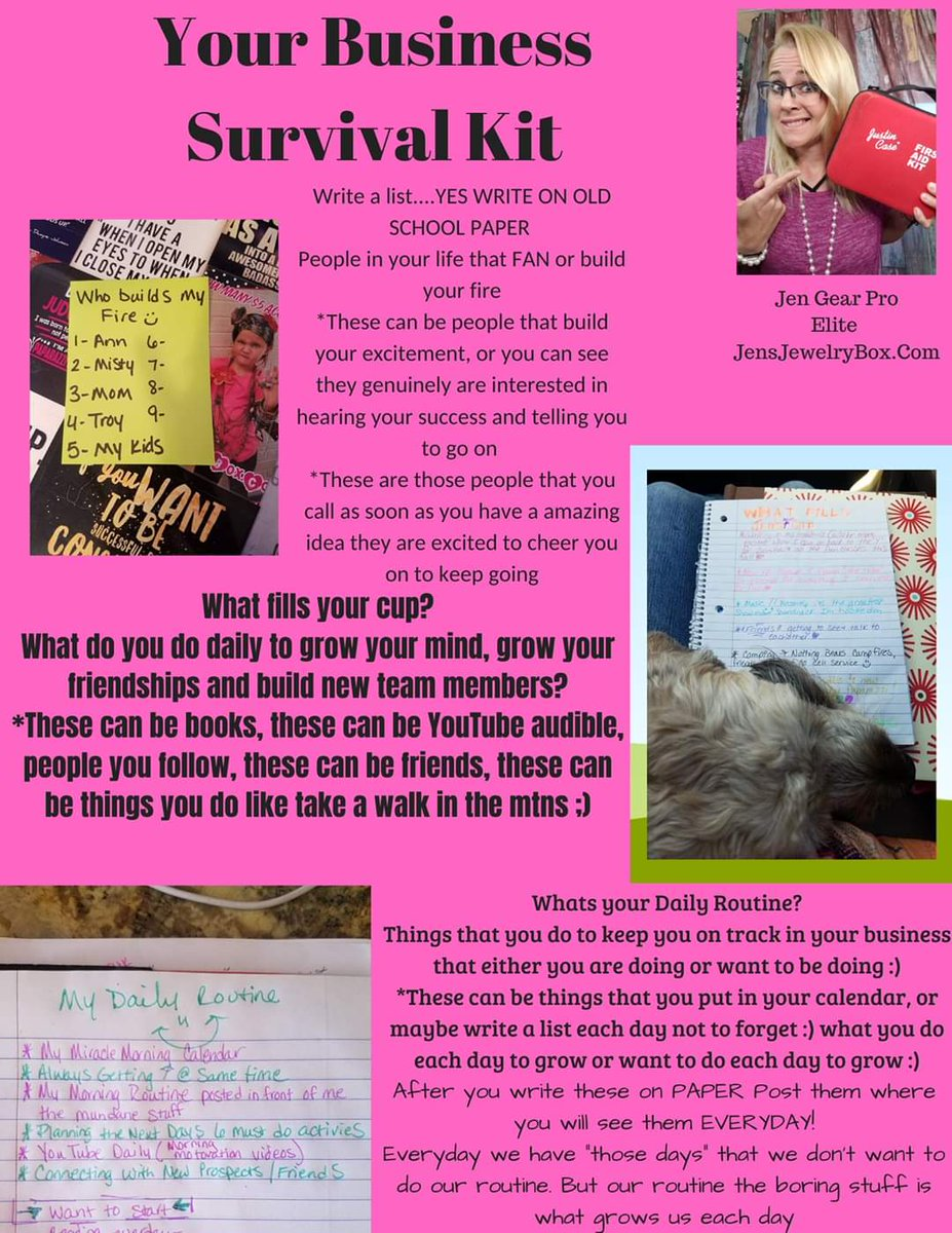 Direct sales business survival kit #TipswithJen #QueenOfBlingJen #JensJewelryBox #LoveMyJob #JenGearPropic.twitter.com/qhBKrJsdh1