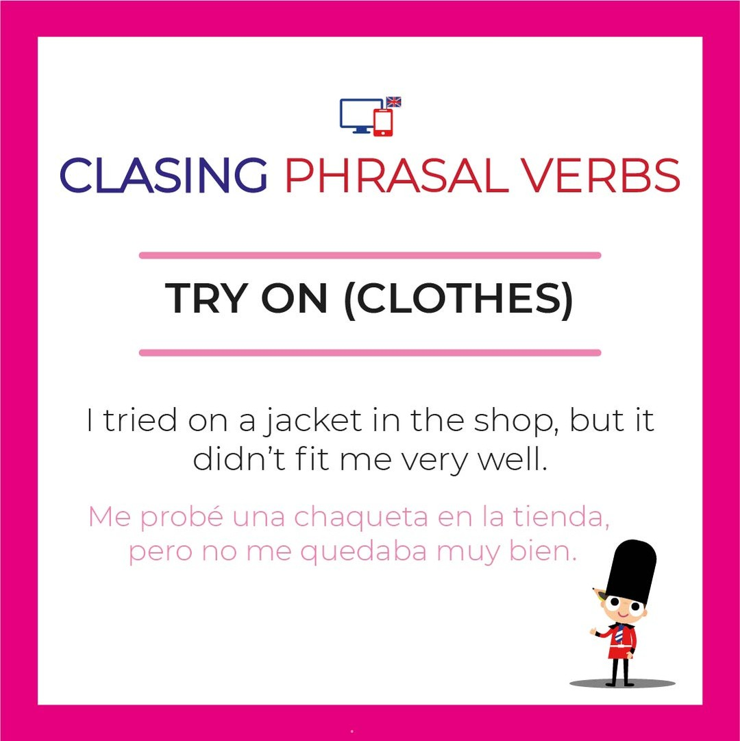 Try on = Probarse ropa. ⠀⠀⠀⠀ For example: I tried the shirt on and decided I didn't like it. ⠀⠀⠀⠀ #phrasalverbs #IELTS #estudiaringles #englishwords #inglesrapido... pic.twitter.com/TsRO9shbbe