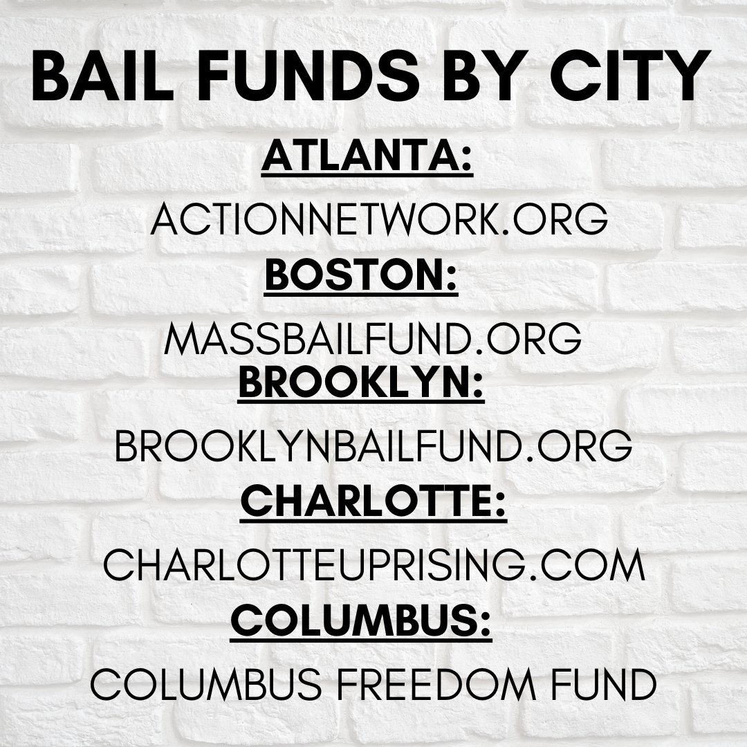 Hi! I put together a list of bail funds by city so it's easier to find/donate to them & to spread them.