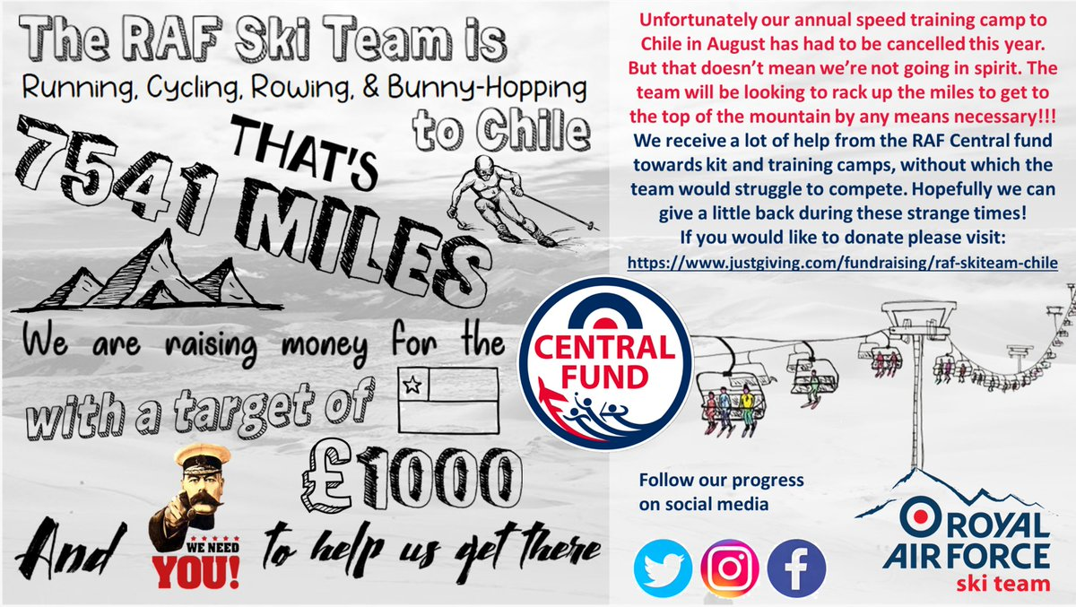 Our #chilechallenge is well underway raising money for @RAFCentralFund. Please donate anything you can at https://t.co/QUoG5IA6JD #noordinaryjob #RAFSkiers @rafwintersport @HQRAFSport https://t.co/hfAytco0Ho