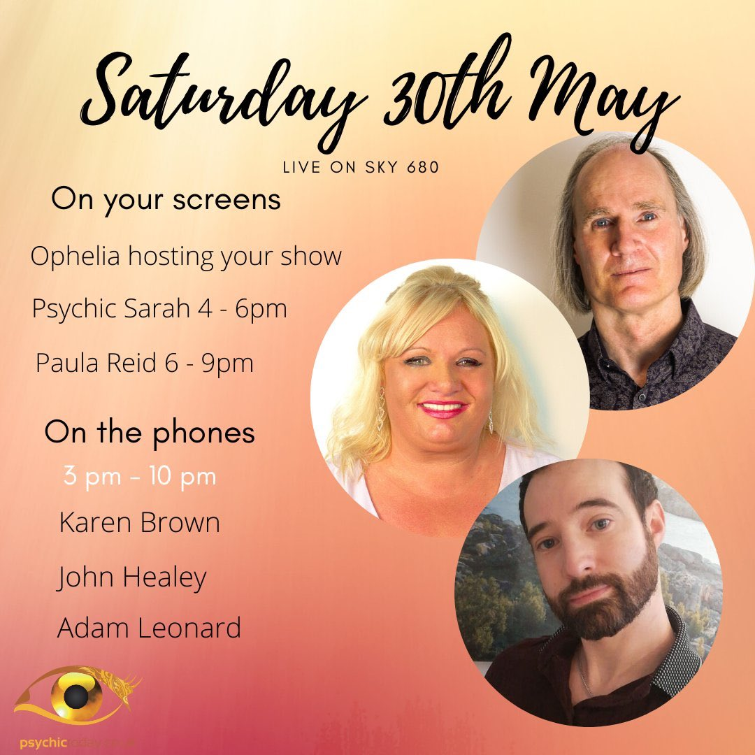 Happy Saturday! Here's what's in store for you this evening!  Adam Leonard, John Healey and Karen Brown are available for you until 10pm!  Want a reading from your favourite psychic? Check out the Psychic Today App!  #saturdayvibes #psychictoday #psychicreading pic.twitter.com/arlVkQtu1F