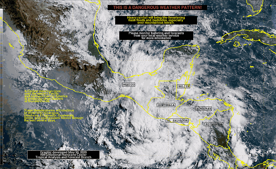 May 30 10AM:  A Central American Gyre over the eastern Pacific and northern Central America is producing large clusters of thunderstorms.  These thunderstorms will continue to occur over Nicaragua, Honduras, El Salvador, Belize, and southeastern Mexico thru next week (1/2) <br>http://pic.twitter.com/biwz3Ka9fc