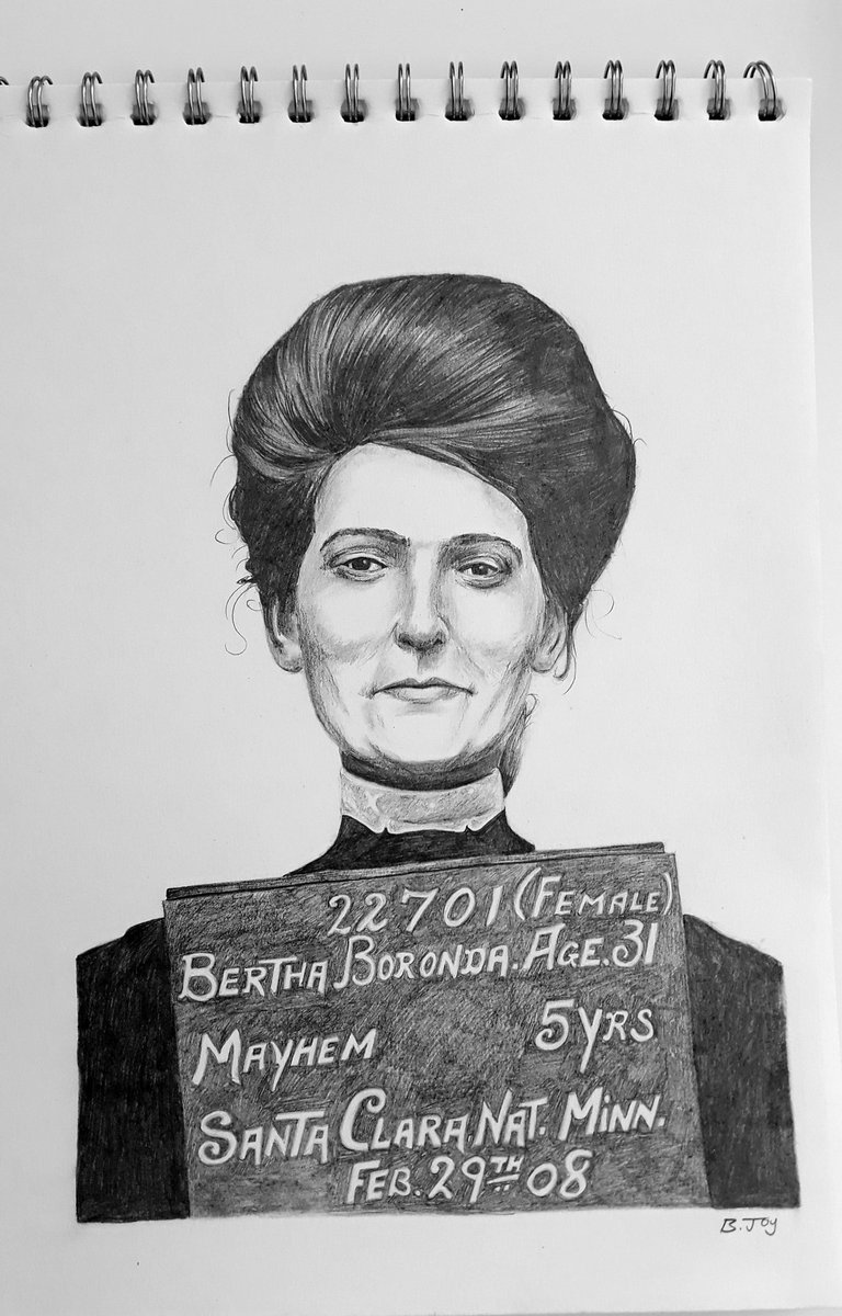 Joining @tinynoggin and @johntuckerart in drawing #berthaboronda  Arrested for cutting off her husbands todger, two shits not given  #pencilsketch #drawing #pencilart #sketchbook #portrait #crime #mayhem #noregrets #artistsontwitter  https://twitter.com/tinynoggin/status/1264964559737143308?s=19…pic.twitter.com/dD3TsPwPv6
