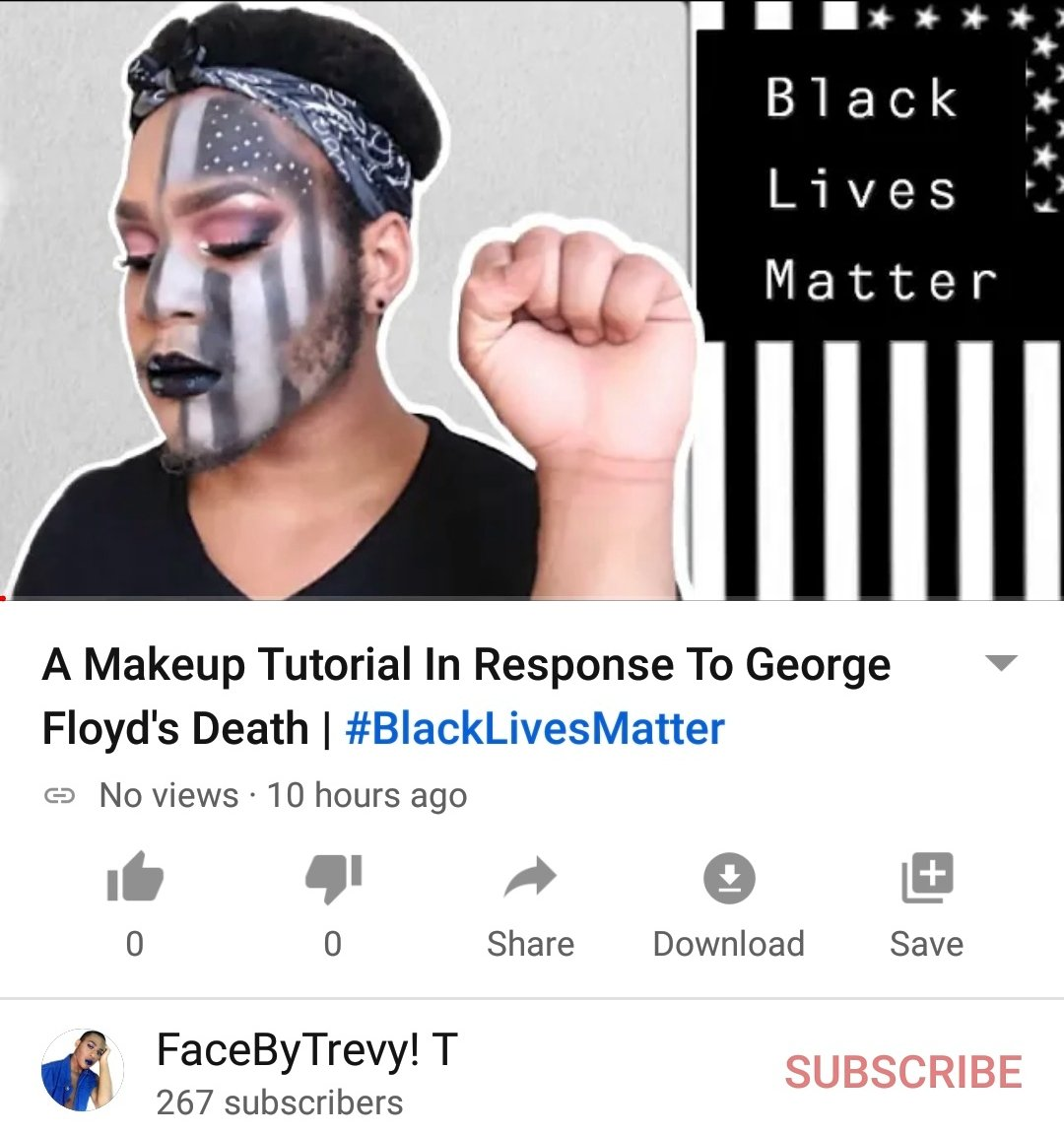 Click the link to watch my new upload. R.I.P #georgefloyd and may justice be served. Subscribe & Share! https://youtu.be/HejCG7TJTVU   #BlackLivesMatter #JusticeForGeorgeFlyod #BlackOut #BlackOutDay2020 #BlackPower #BlacklivesMaters #support #Malemua #makeupart #makeuptutorial #beautypic.twitter.com/nHn5gizHTE