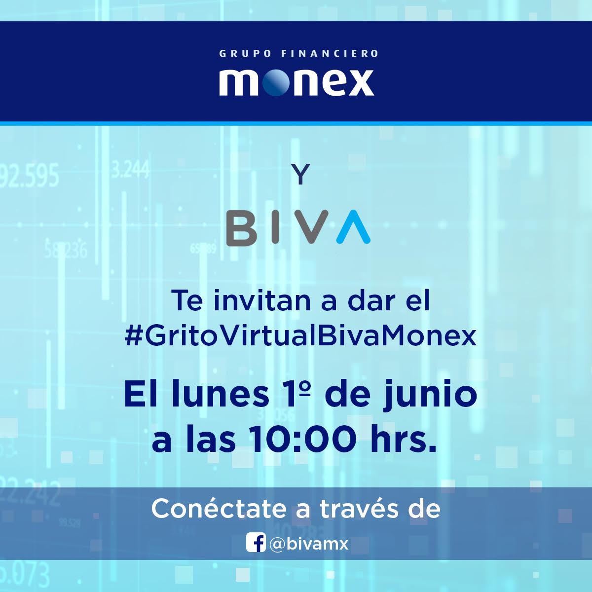 Hoy te invitamos a que nos acompañes al #GritoVirtualBivaMonex. Conéctate a las 10 am a través del #FacebookLive de @BIVAMX y gritemos juntos ¡#BIVAMonex! bit.ly/36K6J9b