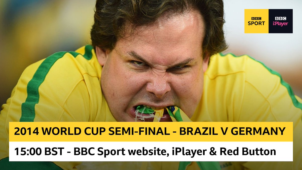 A night that left the world stunned - and some Brazil fans furious. Relive THAT 2014 World Cup semi-final between Brazil and Germany with us from 15:00 BST... Watch on the BBC Sport website, @BBCiPlayer and Red Button!