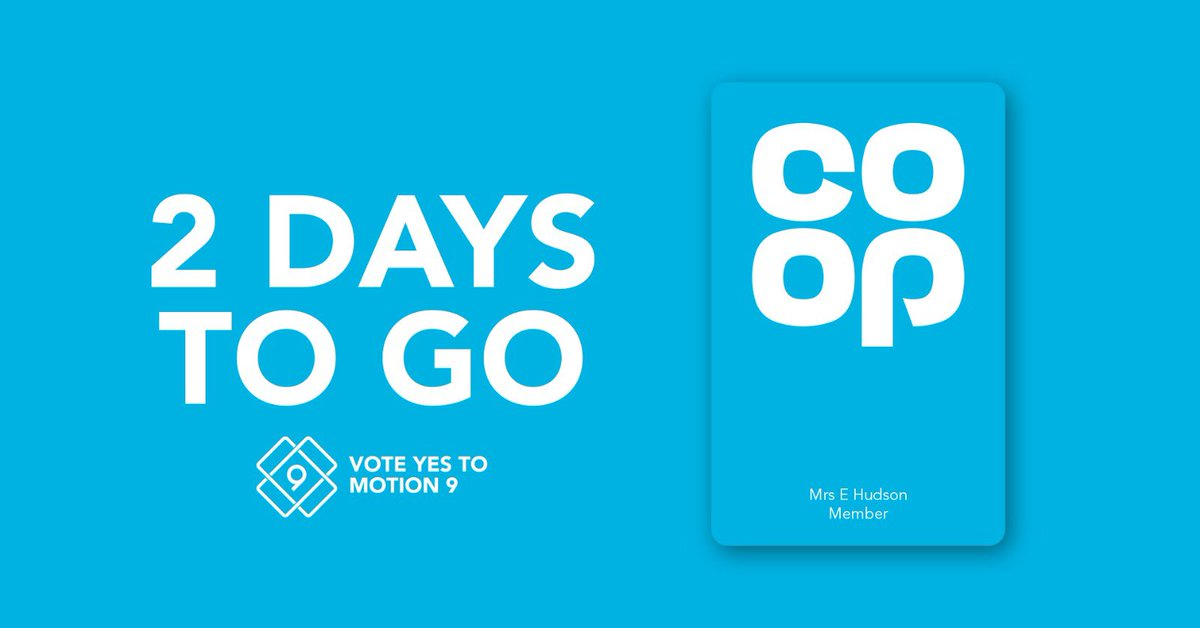 "Regularly shop at @CoopUK with your blue membership card? You might be able to vote in their AGM – but time is running out! 🗳️ 📧 Open your email inbox 🔍 Search for the subject line ""Co-operative Group - 2020 AGM"" ✔️ Vote #YesToMotion9"