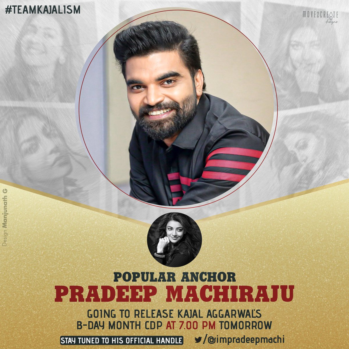Big Breaking newsTollywood  Most popular anchor @impradeepmachi going to avail Birthday Month CDP of our  Gorergeous Diva @MsKajalAggarwal  Tomorrow at 7:00Pm ! Get ready guys for the huge birthday trend. Gonna create history pic.twitter.com/SKo3zXx16Q